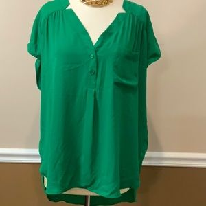 NWT NY & Company green short sleeve blouse XL